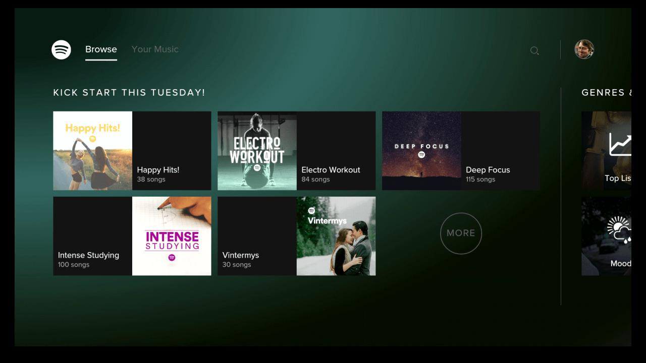 Spotify publie son application pour Android TV