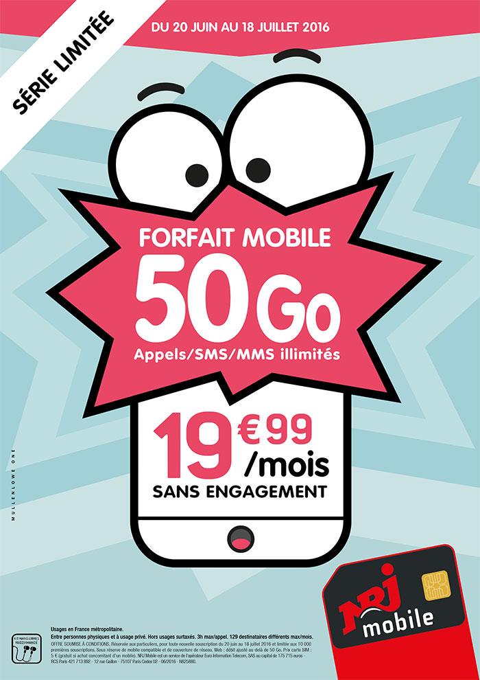 NRJ Mobile va proposer un forfait avec 50Go de data à moins de 20 euros par mois