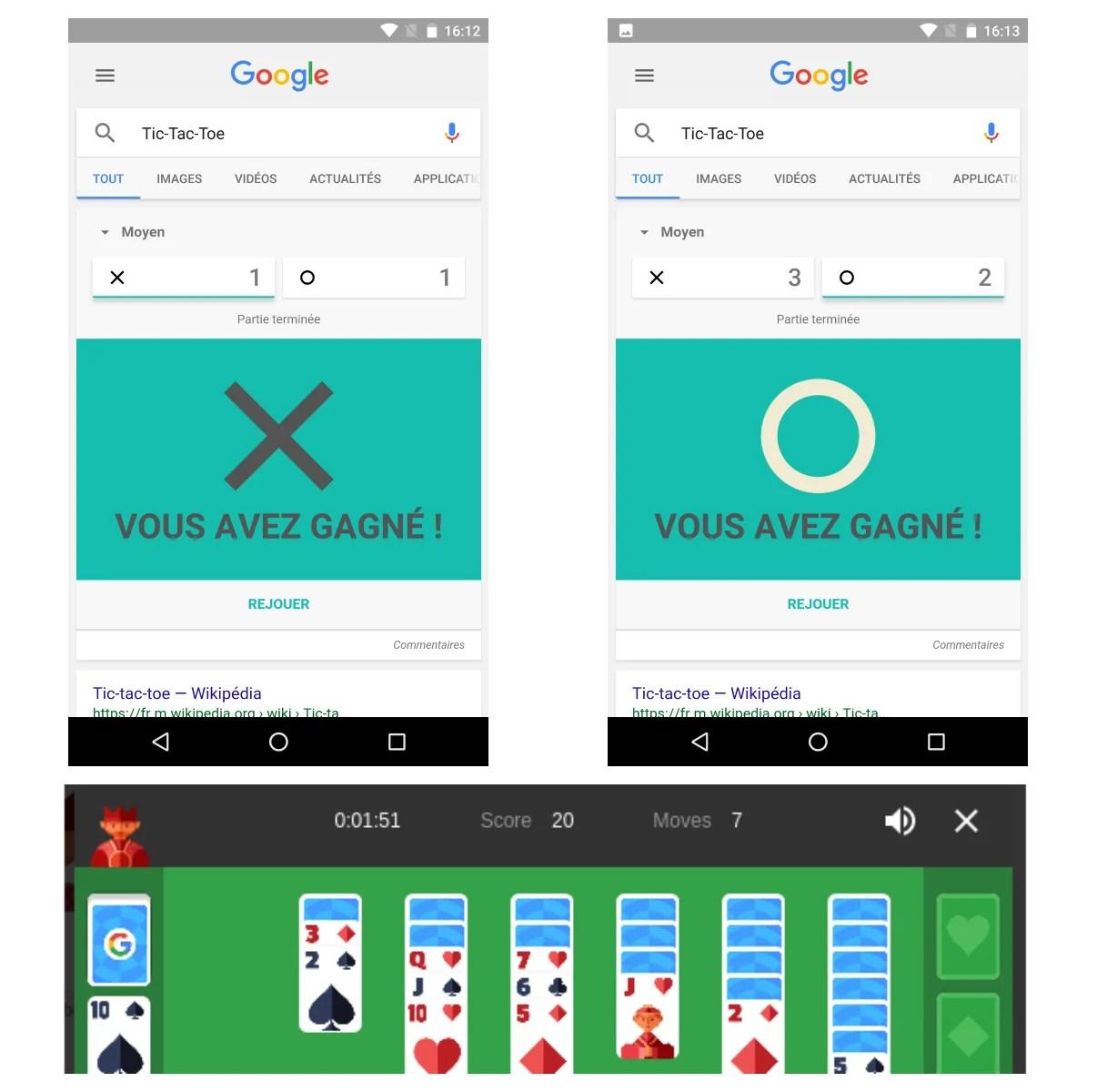 Comment jouer au Solitaire et au Morpion sur Android et Google ?