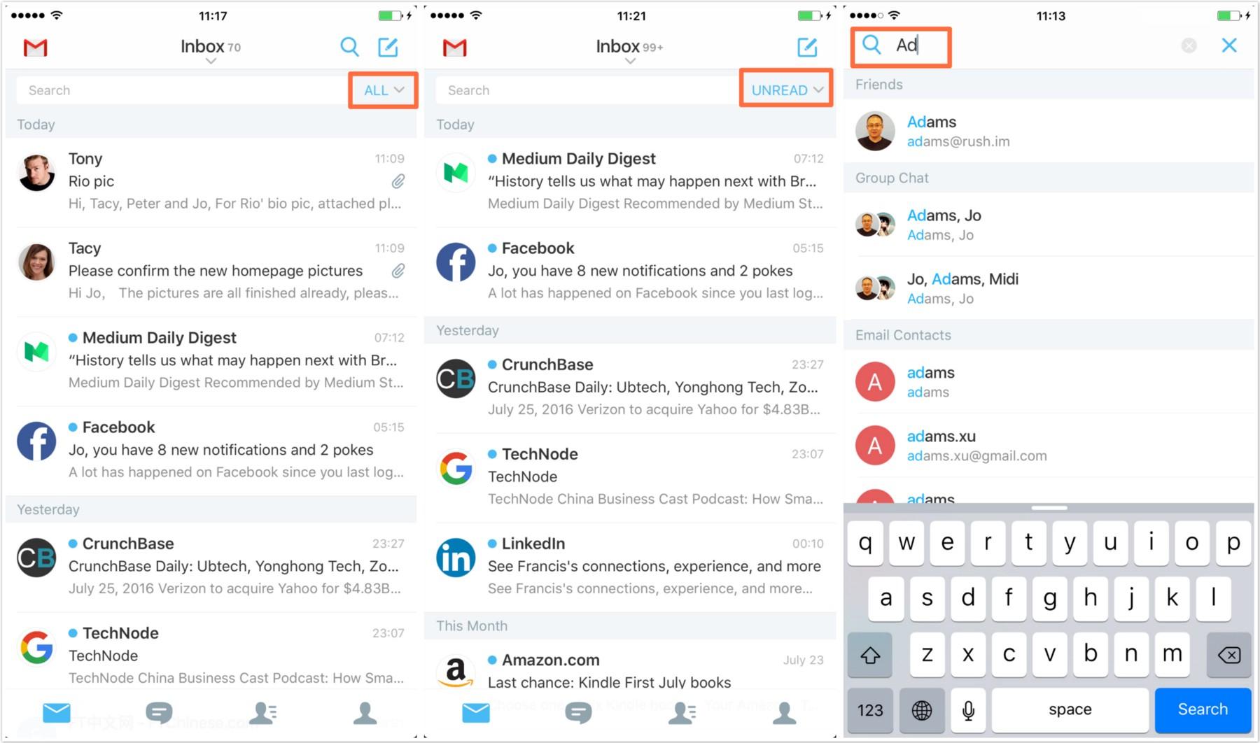 Rush, l'application mail mêlée à une messagerie instantanée