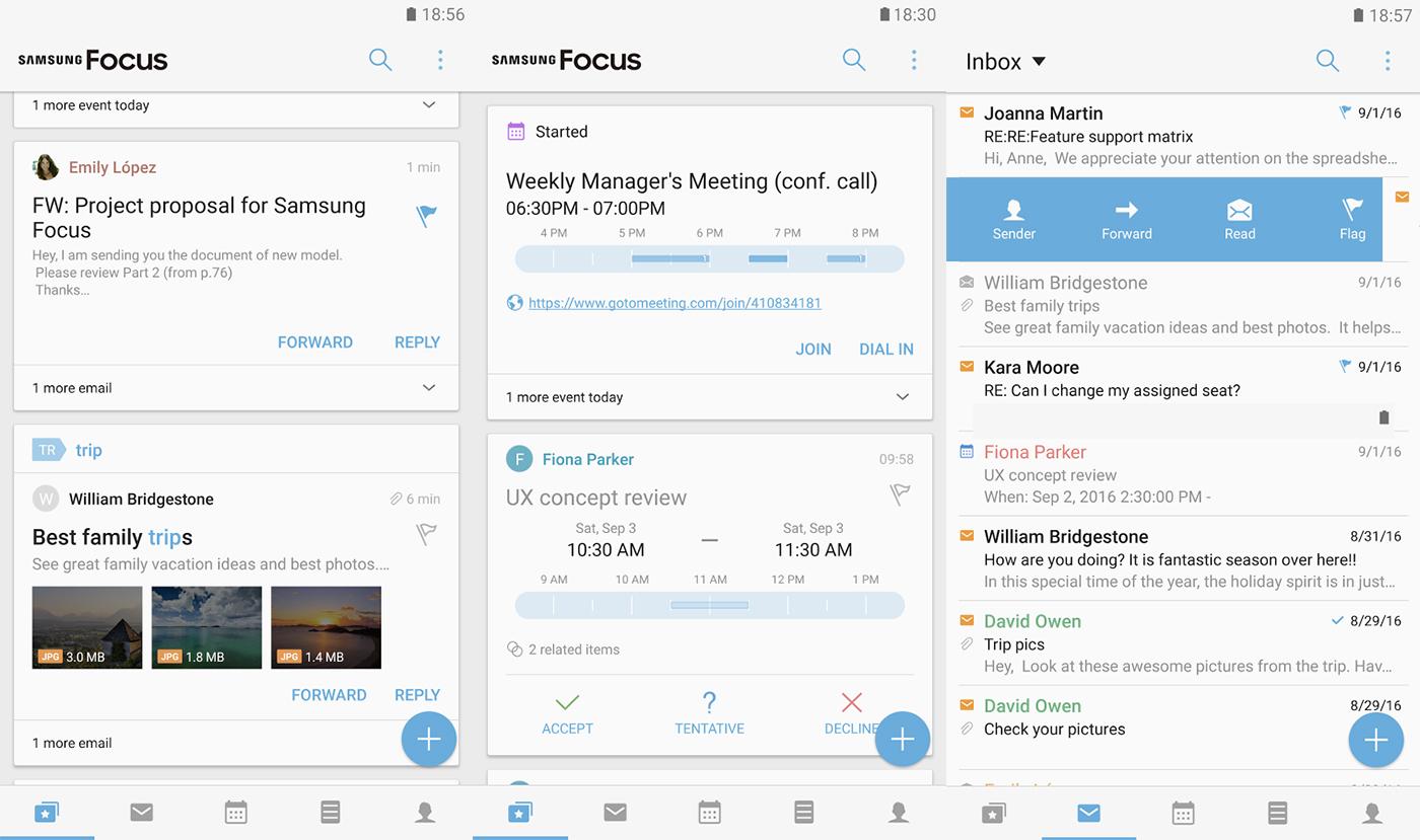 Samsung Focus vient marcher sur les plates-bandes du BlackBerry Hub