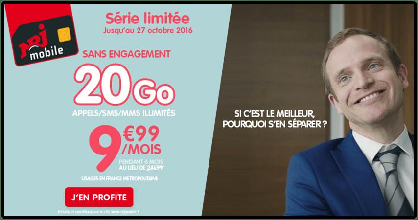 🔥 Bon plan : Le forfait 20 Go de NRJ Mobile à 9,99 euros par mois