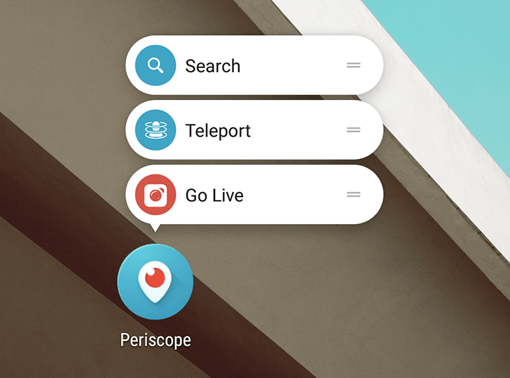 Periscope 1.8.1 ajoute de nouveaux raccourcis et options de diffusion sous Android 7.1
