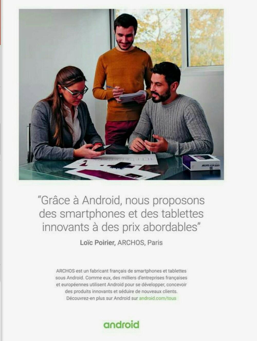 Google lance une campagne Android en France, et y associe Archos et d'autres constructeurs « français »