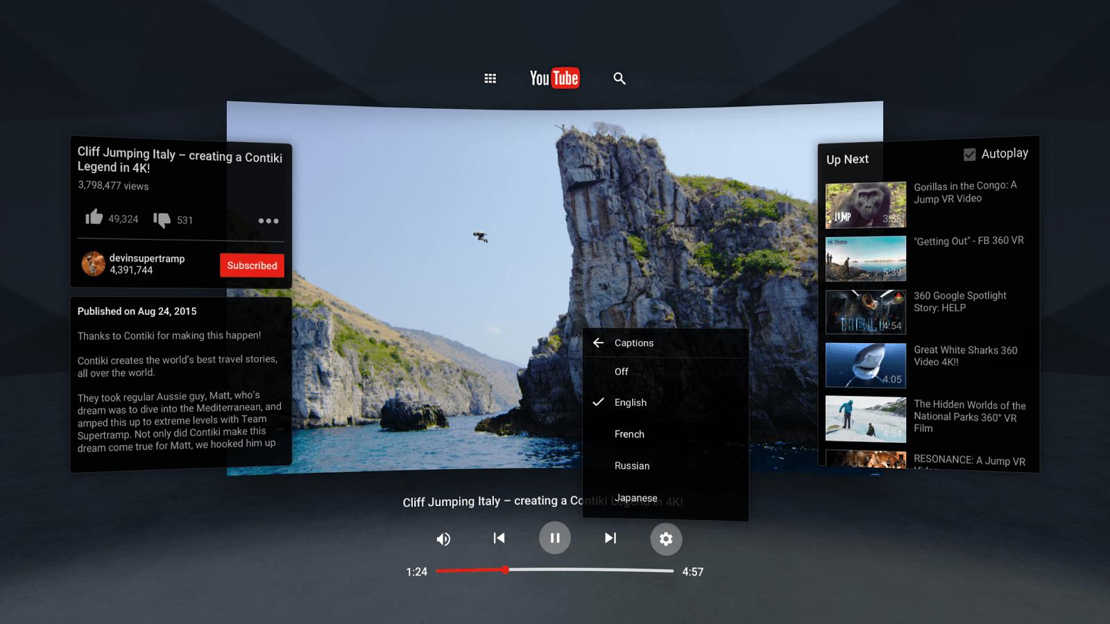 Il sera bientôt possible de regarder les vidéos 360° de YouTube sur le PS VR