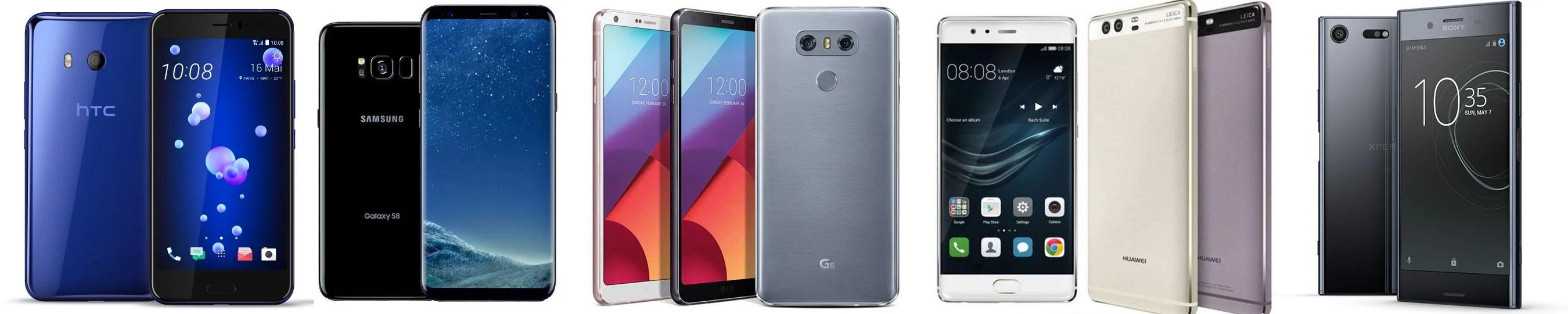Comparatif : HTC U11 vs Samsung Galaxy S8 vs Huawei P10 vs LG G6 vs Sony Xperia XZ Premium