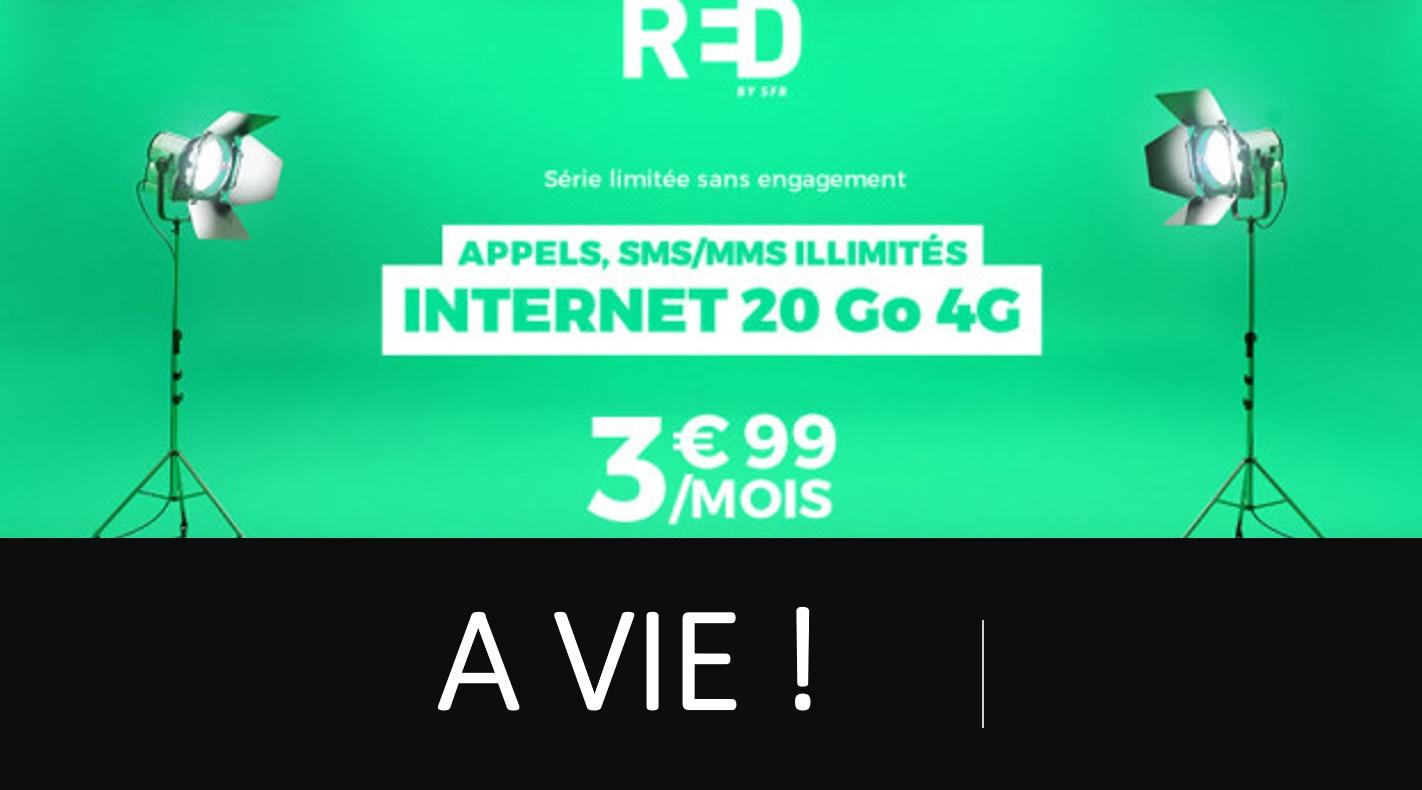 SFR RED prolonge à vie l'offre de 20 Go à 3,99 euros/mois pour ses abonnés