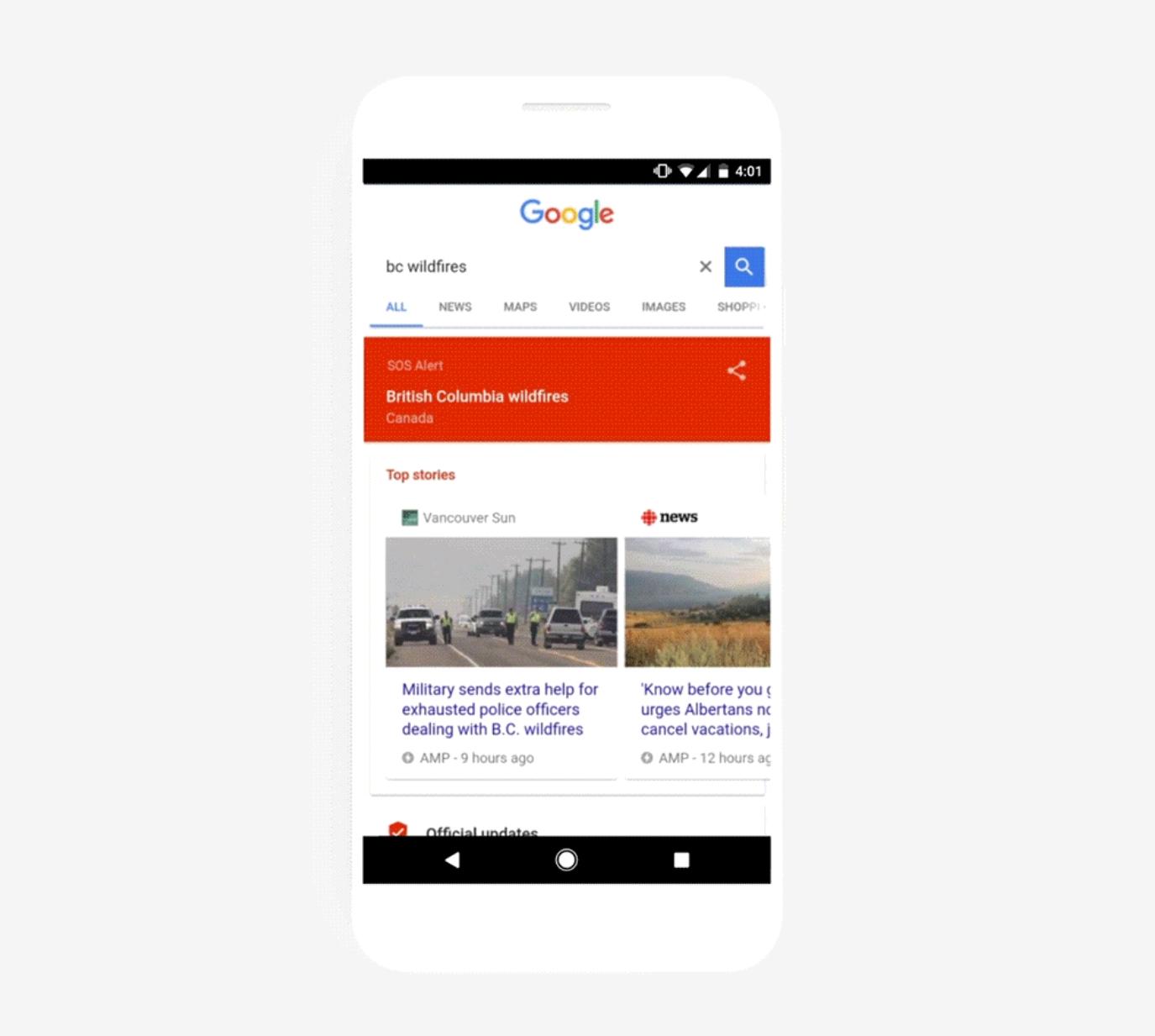 Avec SOS Alerts, Google vous tient informé en cas de catastrophe