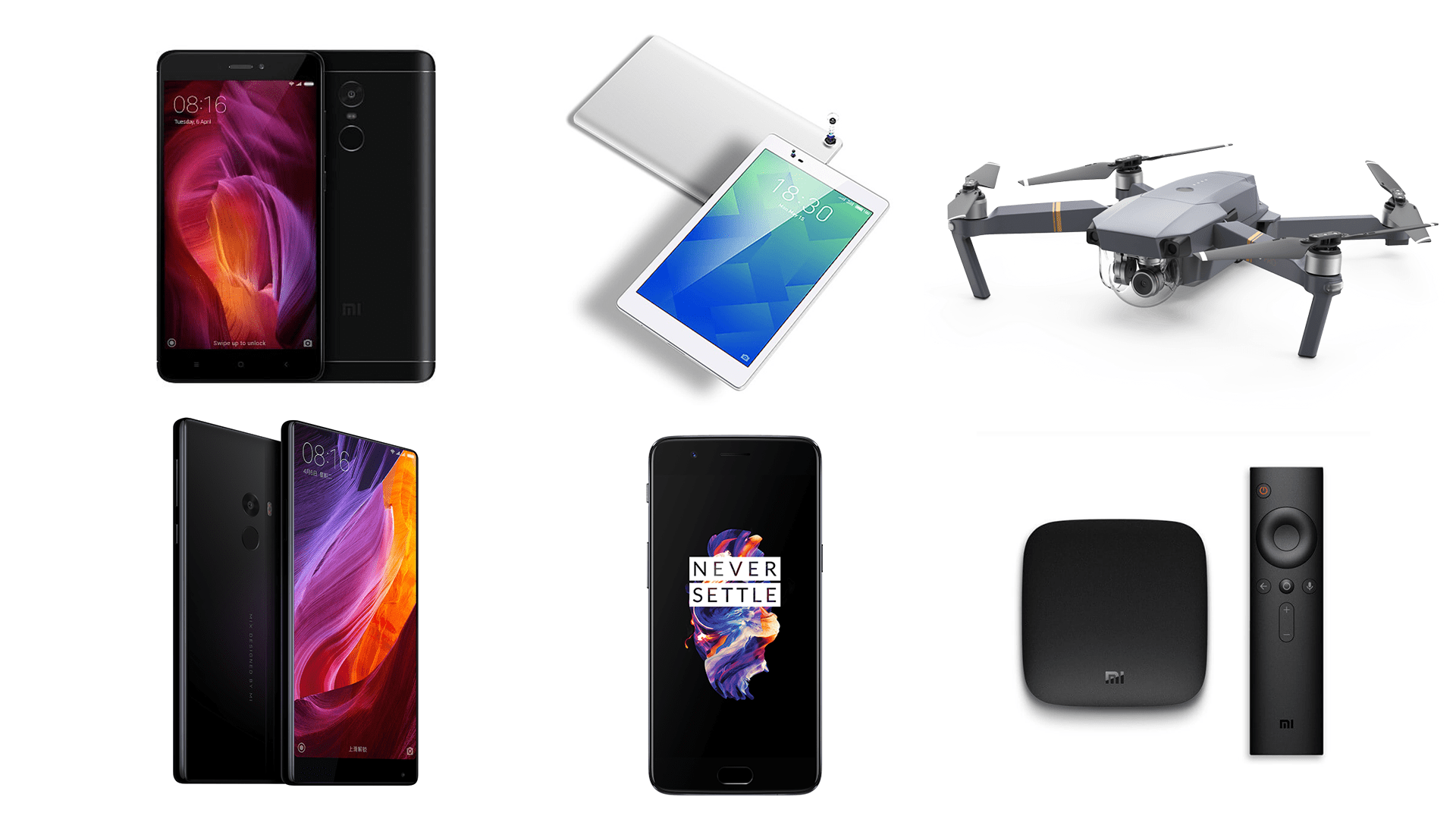 6 offres de la semaine sur GearBest : Xiaomi Mi Mix 2, Lenovo P8, Xiaomi Redmi Note 4, DJI Mavic Pro, One Plus 5 et Xiaomi Mi Box