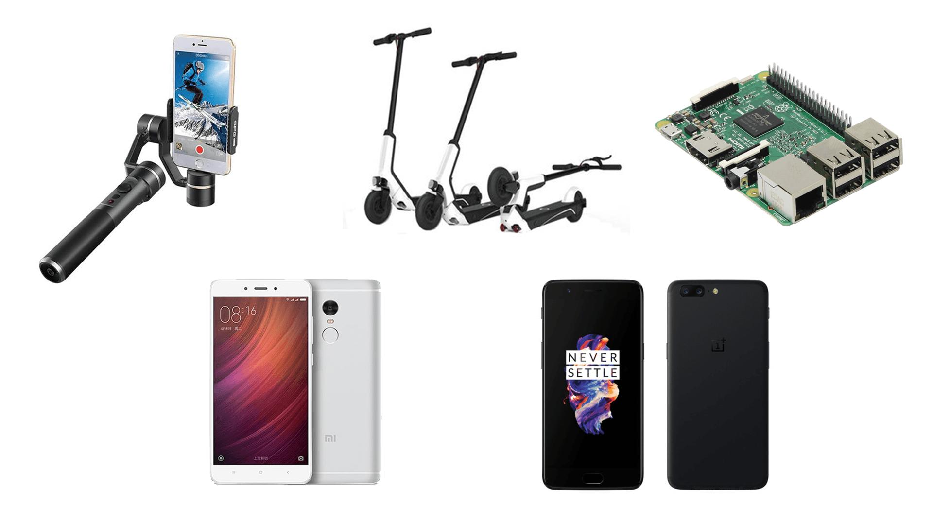 5 offres de la semaine sur GearBest : Raspberry Pi 3, Feiyu Tech SPG, Xiaomi EUNI ES808, Xiaomi Redmi Note 4 et OnePlus 5