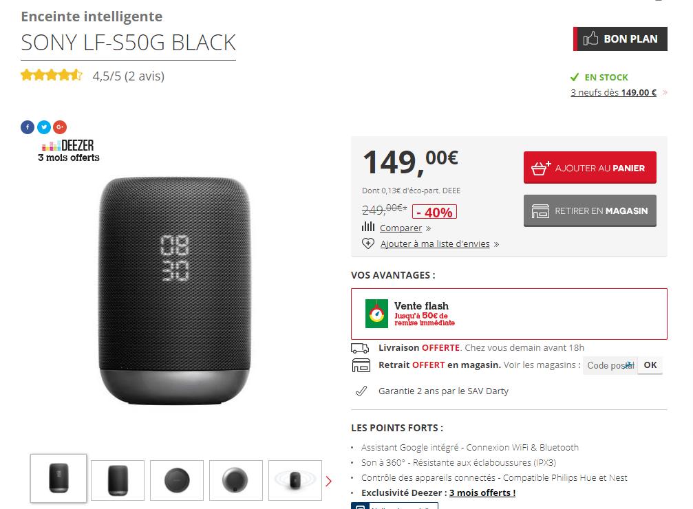 🔥 Bon plan : baisse de prix sur l'enceinte Sony LF-S50G, le Google Home par Sony à 149 euros au lieu de 250