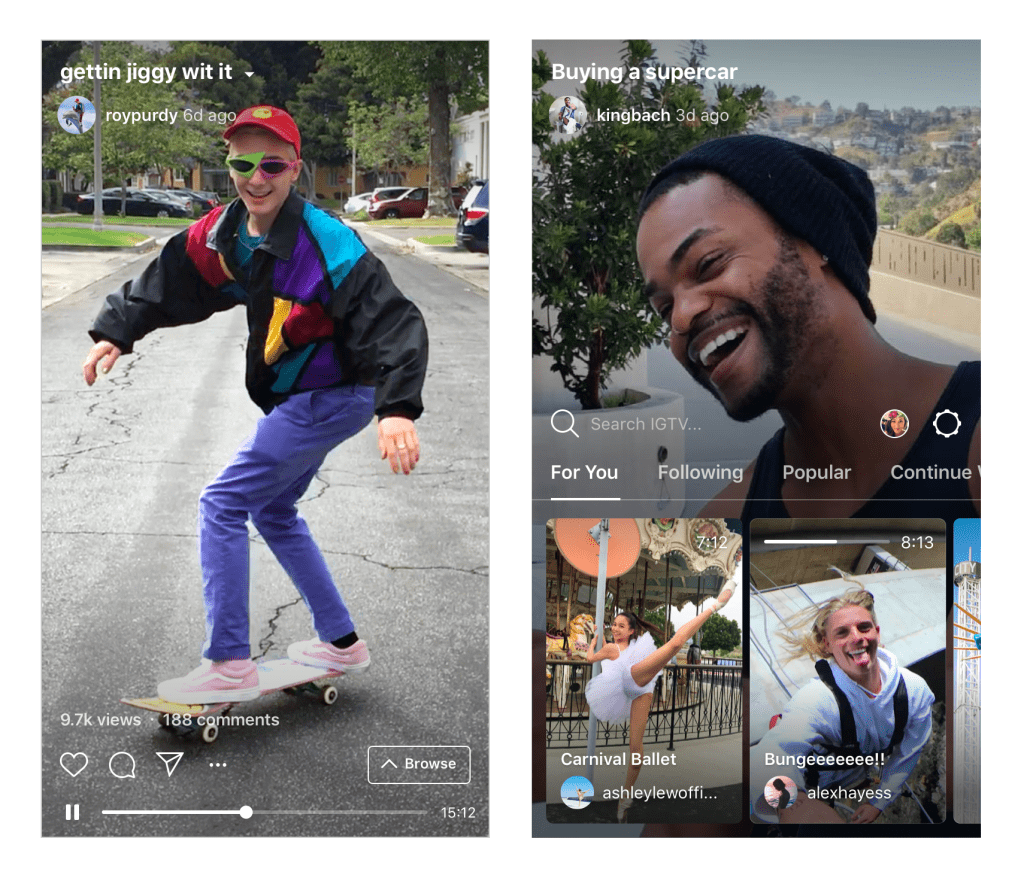 Contre YouTube, Instagram lance IGTV : un service de vidéo long format en mode portrait