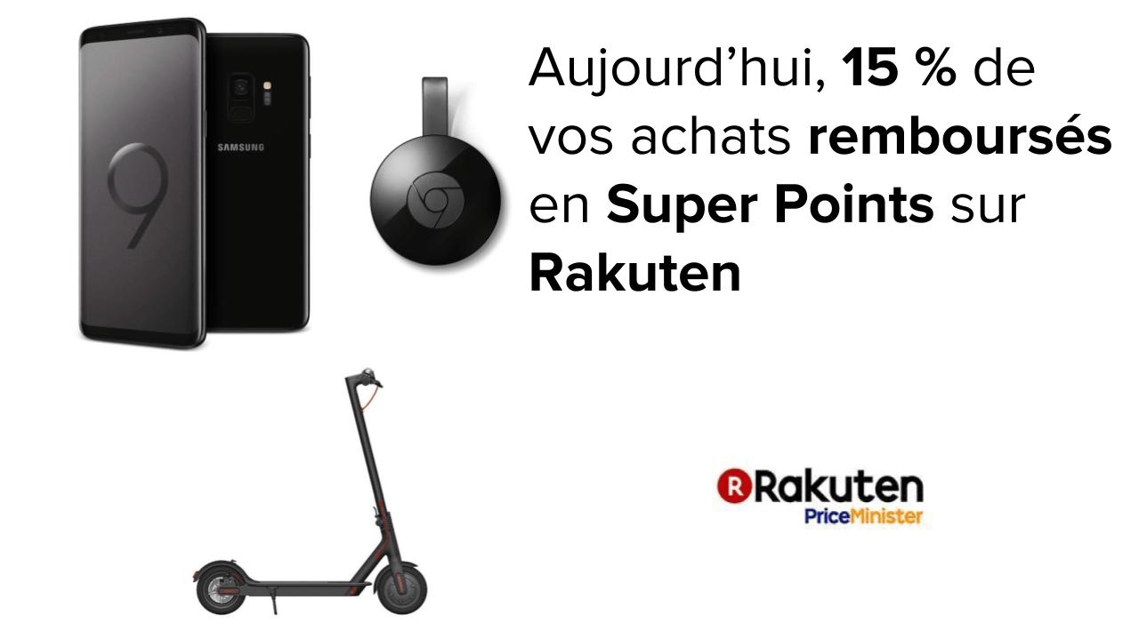 Samsung Galaxy S9 à 540 euros, Chromecast 2 à 28 euros et Xiaomi M365 à 397 euros sur Rakuten