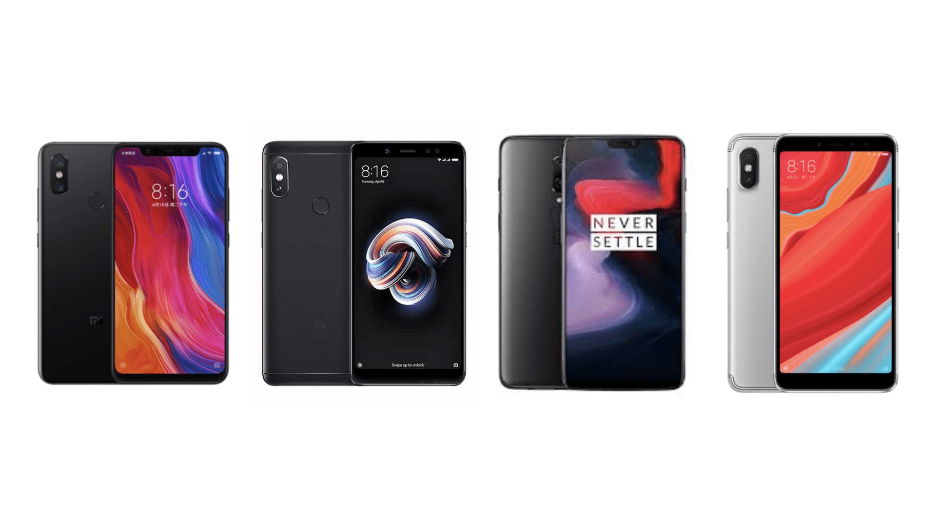 OnePlus 6 à 424 euros, Xiaomi Mi 8 à 415, Mi Pad 4 à 255, Mi Band 3 à 22 et Redmi S2 à 134 sur GearBest