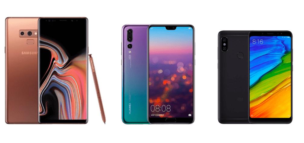 Samsung Galaxy Note 9 à 749 euros, Huawei P20 Pro à 629 euros et Xiaomi Redmi Note 5 64 Go à 159 euros