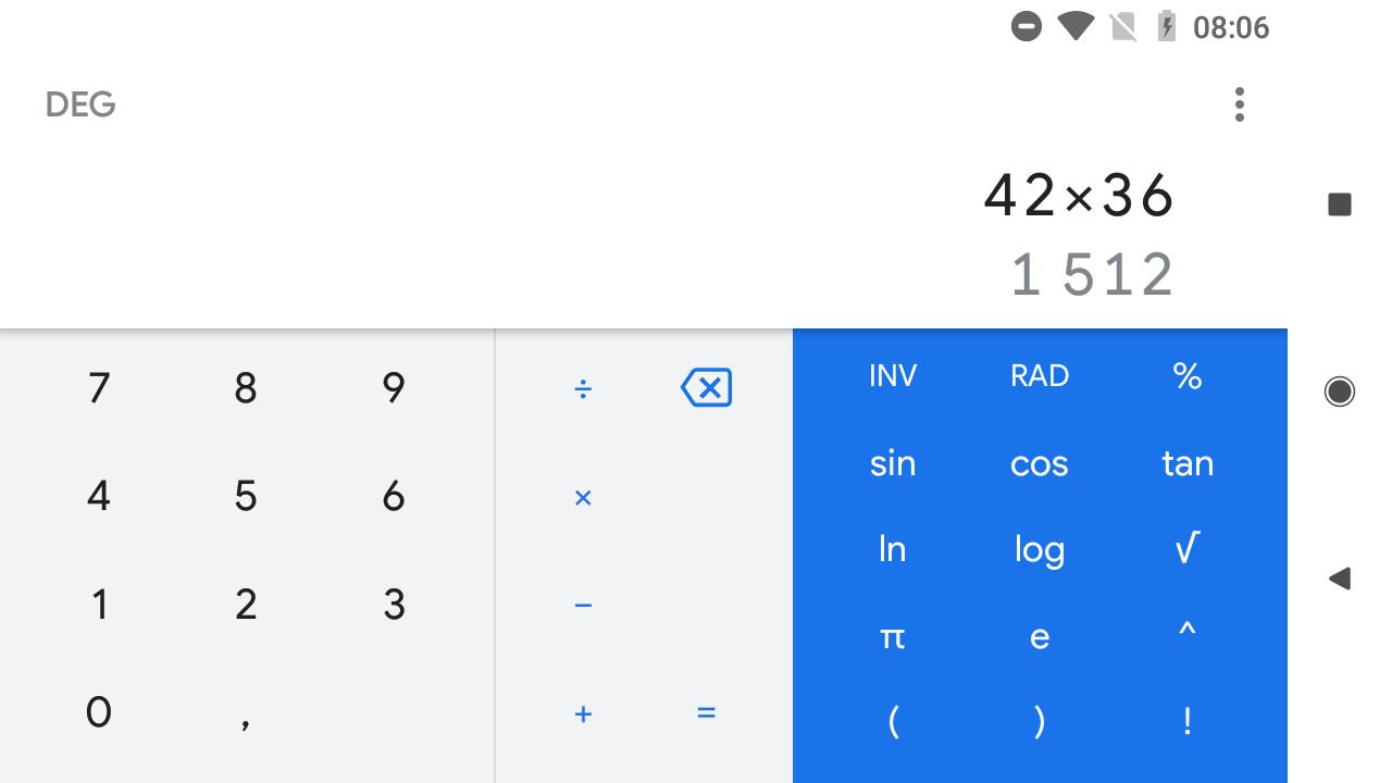 Google Calculatrice change à son tour d'interface avec Material Theming