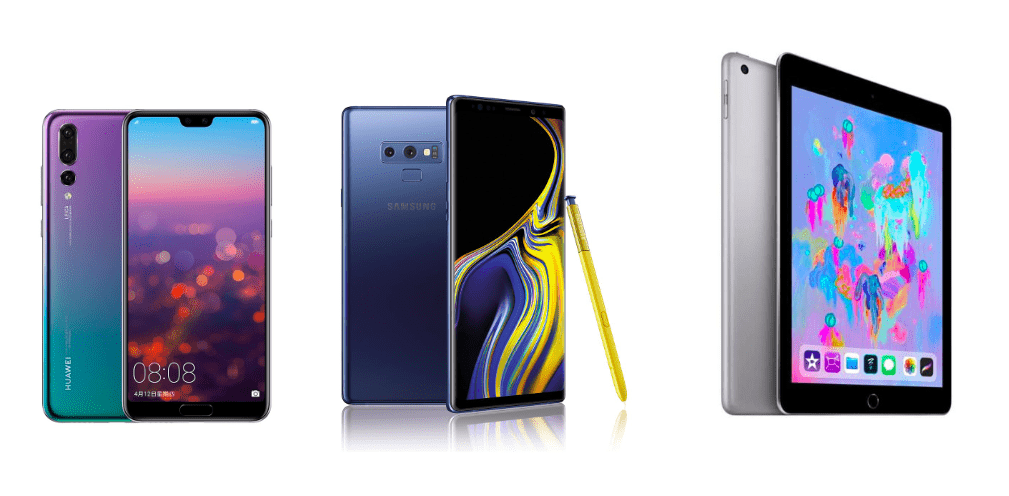 Huawei P20 Pro à 589 euros, Samsung Galaxy Note 9 à 664 euros et iPad 2018 à 259 euros sur eBay