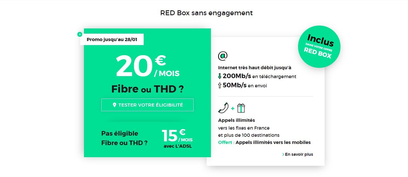🔥 Bon plan : la RED box sans engagement (Fibre ou THD) est à 20 euros par mois à vie