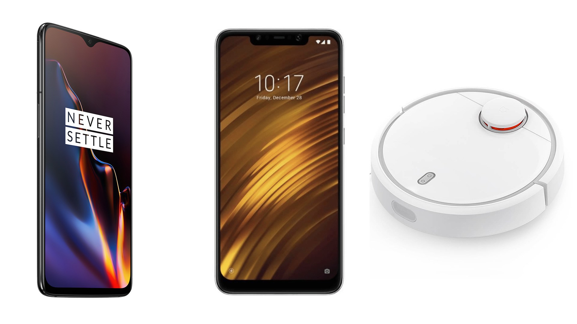 Xiaomi Pocophone F1 (128 Go) à 312 euros, OnePlus 6T à 462 euros et Xiaomi Mi Robot à 246 euros