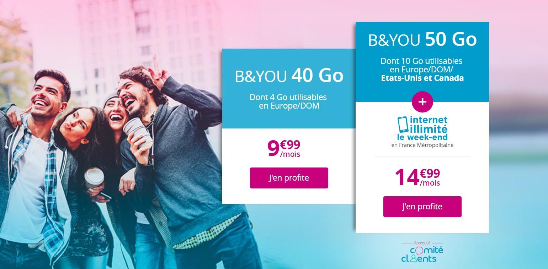 🔥 Dernier jour : forfait mobile B&You 50 Go (avec Internet illimité le week-end) à 14,99 euros par mois