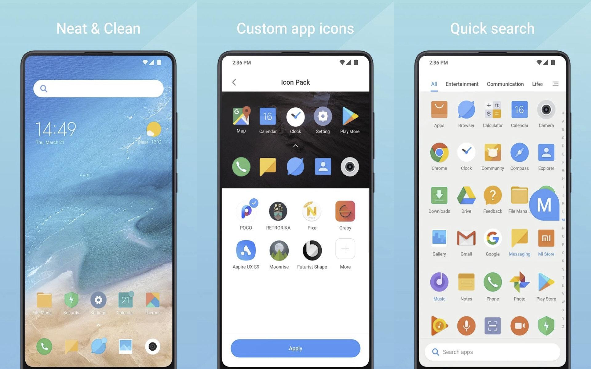 Xiaomi Mint Launcher : la marque chinoise publie un nouveau lanceur d'apps sur Android