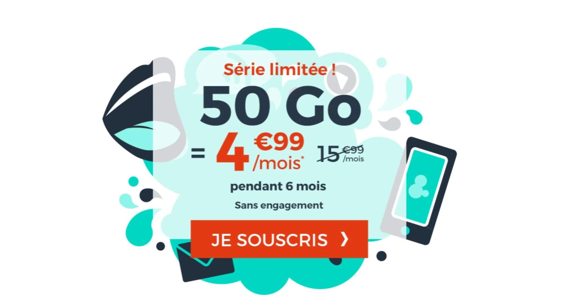 Forfait mobile : la data passe de 40 à 50 Go, toujours pour 4,99 euros par mois