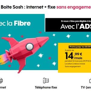 L'offre Sosh Fibre jusqu'à 300 Mbits/s est de retour à moitié prix pendant 1 an – dernier jour