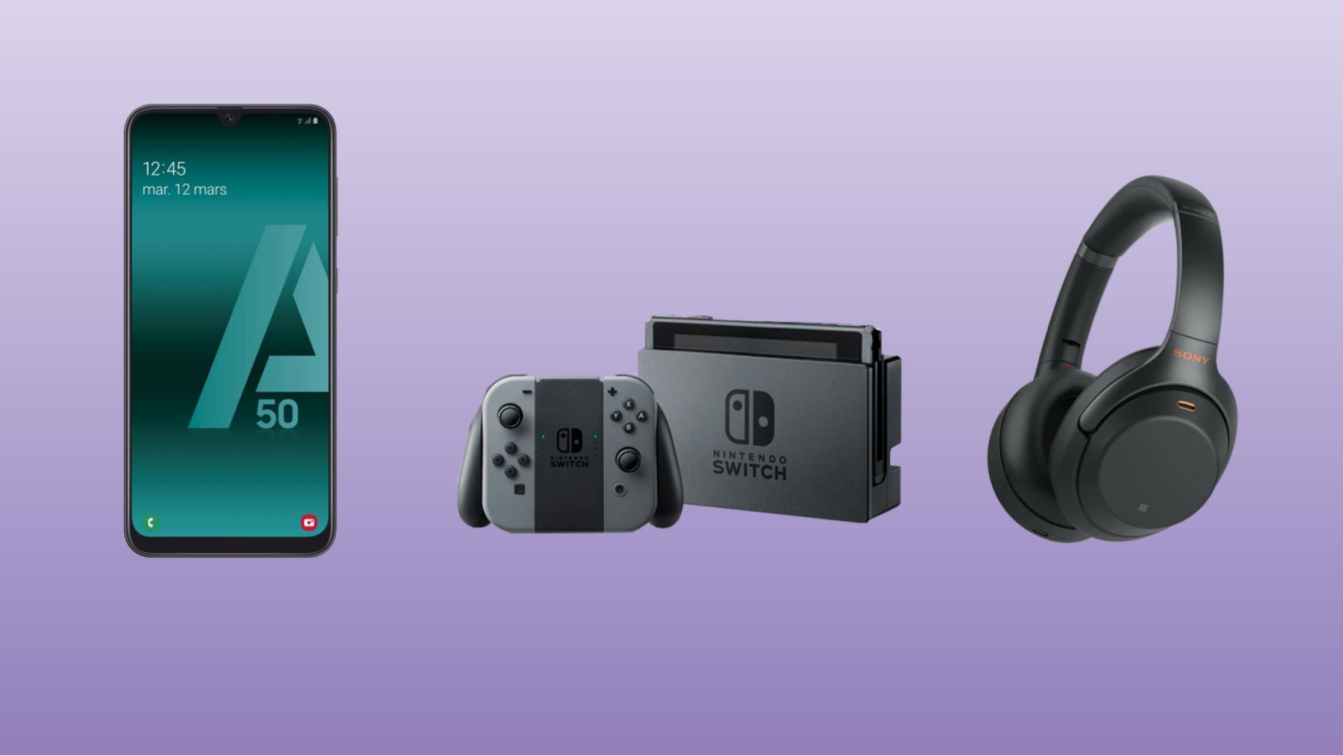 Samsung Galaxy A50 à 258 euros, Nintendo Switch à 272 euros et Sony WH-1000XM3 à 254 euros