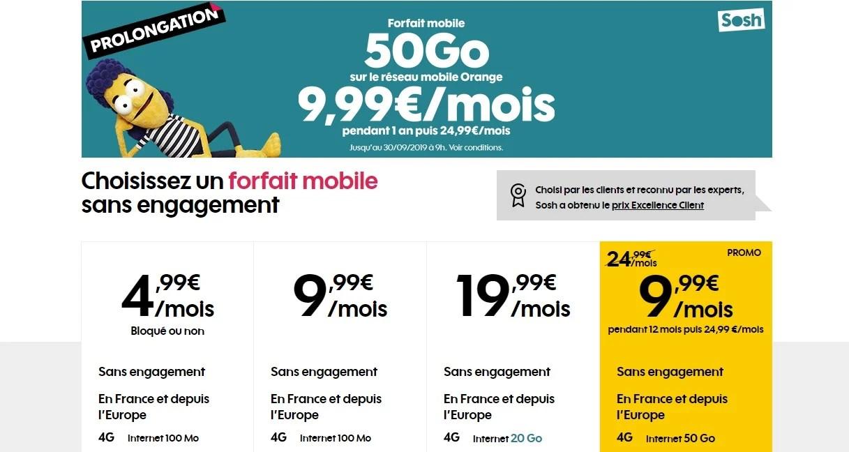 Forfait mobile : l'offre Sosh 50 Go à 9,99 euros est prolongée jusqu'à la fin du mois