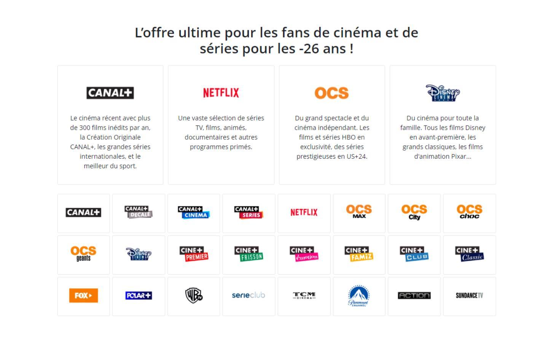 Pour 24,95 €/mois, les moins de 26 ans ont accès à Canal+, CINE SERIES et Netflix