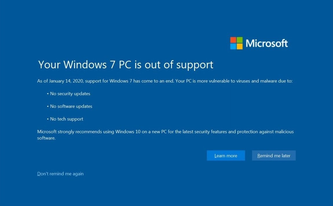 Windows 7 : comment désactiver la notification plein écran de fin de support
