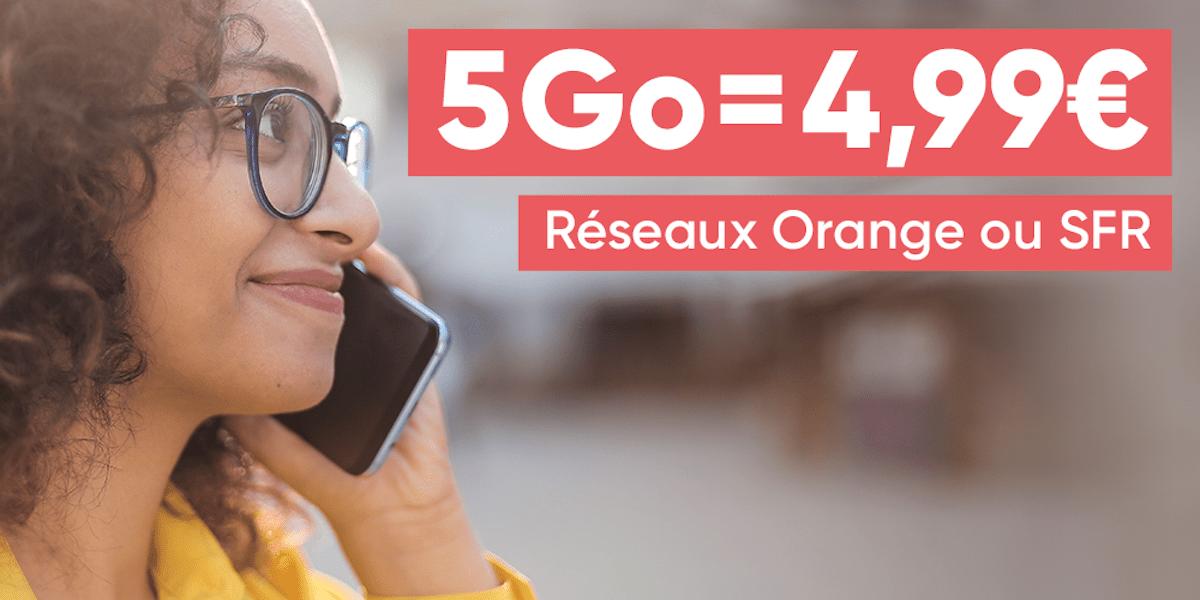 Profitez d'un forfait mobile ajustable 5 Go dès 4,99 € sur les réseaux Orange et SFR