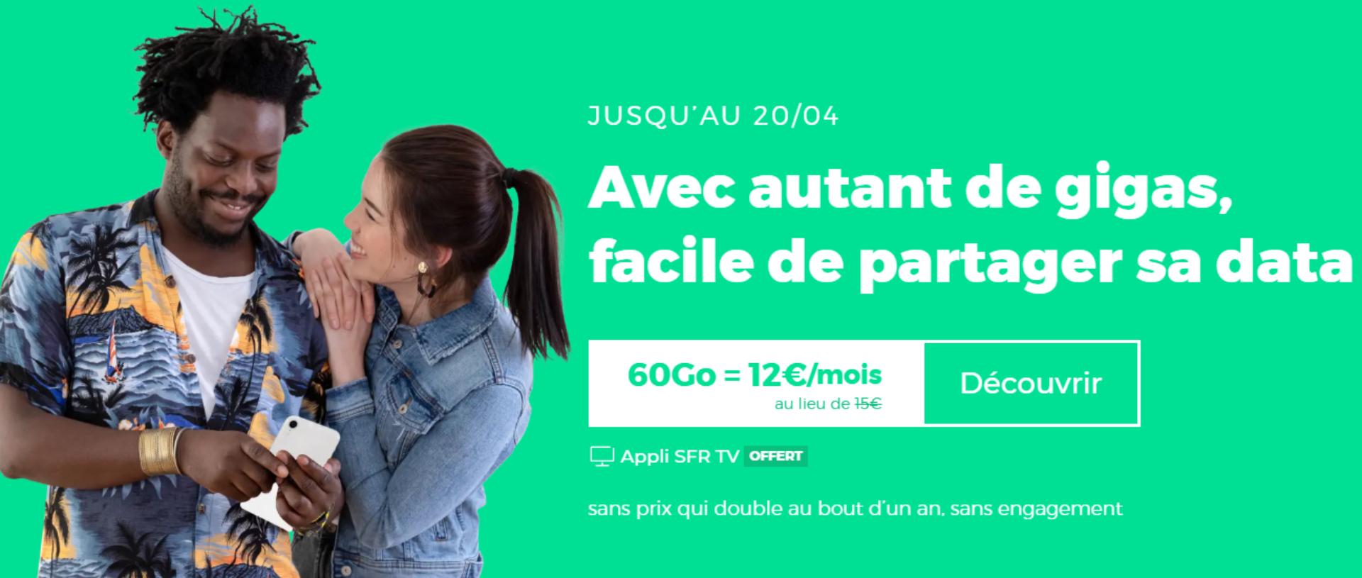 Forfait mobile : 60 Go pour 12 euros par mois et sans évolution de prix