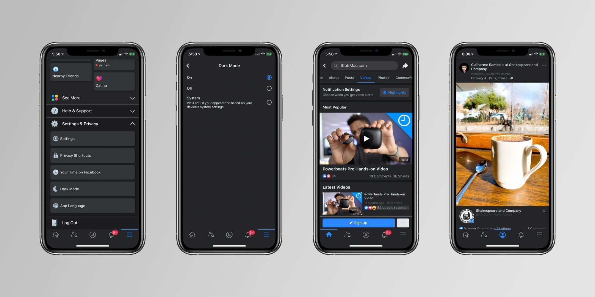 Facebook déploie le mode sombre sur son application mobile