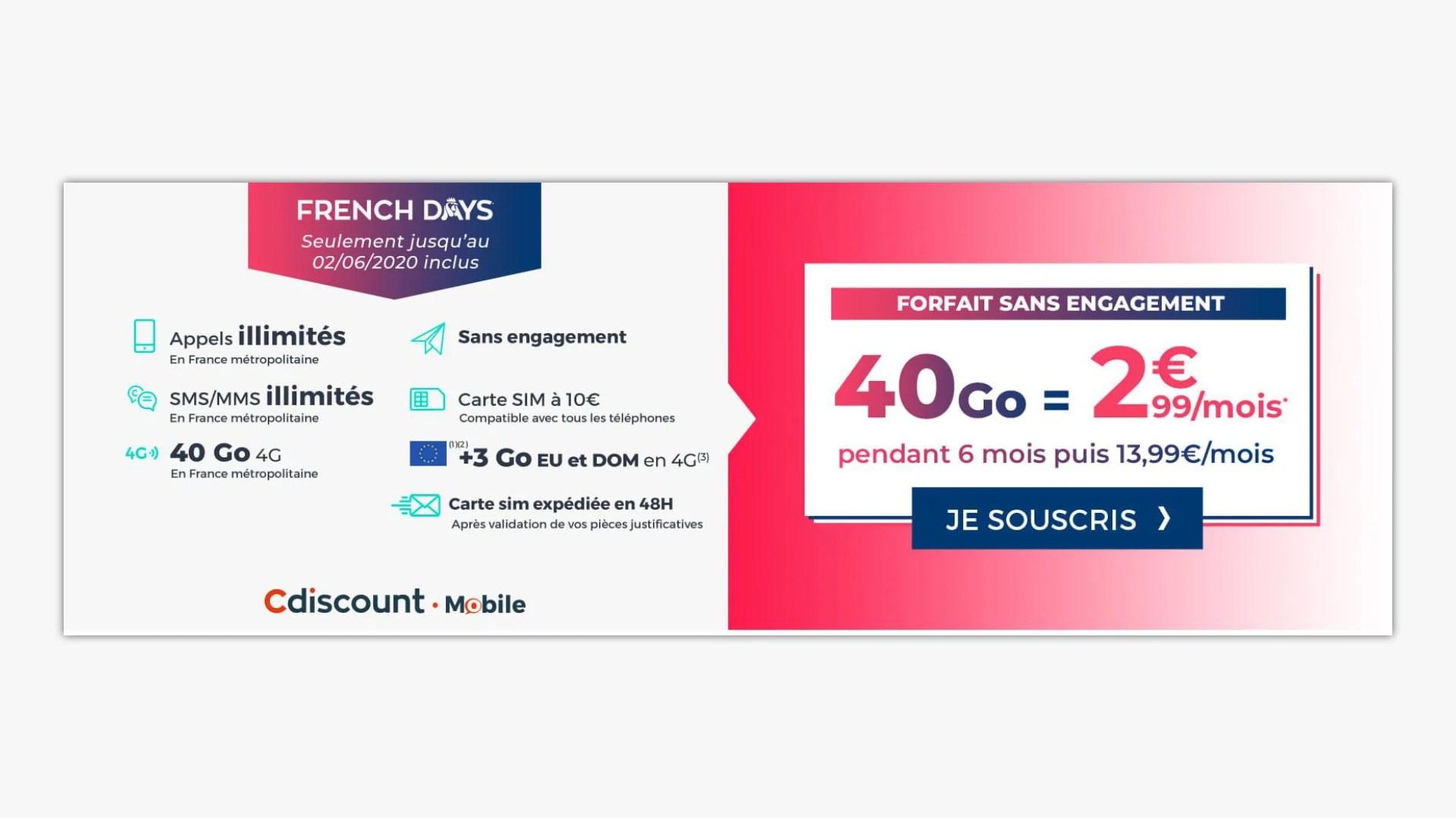 French Days : ce forfait mobile 40 Go passe à 2,99 euros/mois seulement