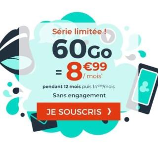 Ce forfait mobile propose 60 Go de 4G pour seulement 8,99 euros par mois