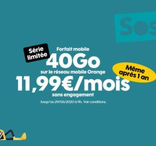 Sosh propose un nouveau forfait mobile 40 Go sans prix qui double après un an