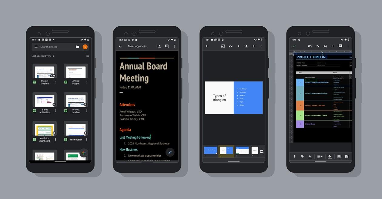 Google Docs, Sheets et Slides passent enfin au thème sombre sur mobile
