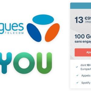 Le forfait mobile 100 Go de B&You est à 13,99 euros par mois