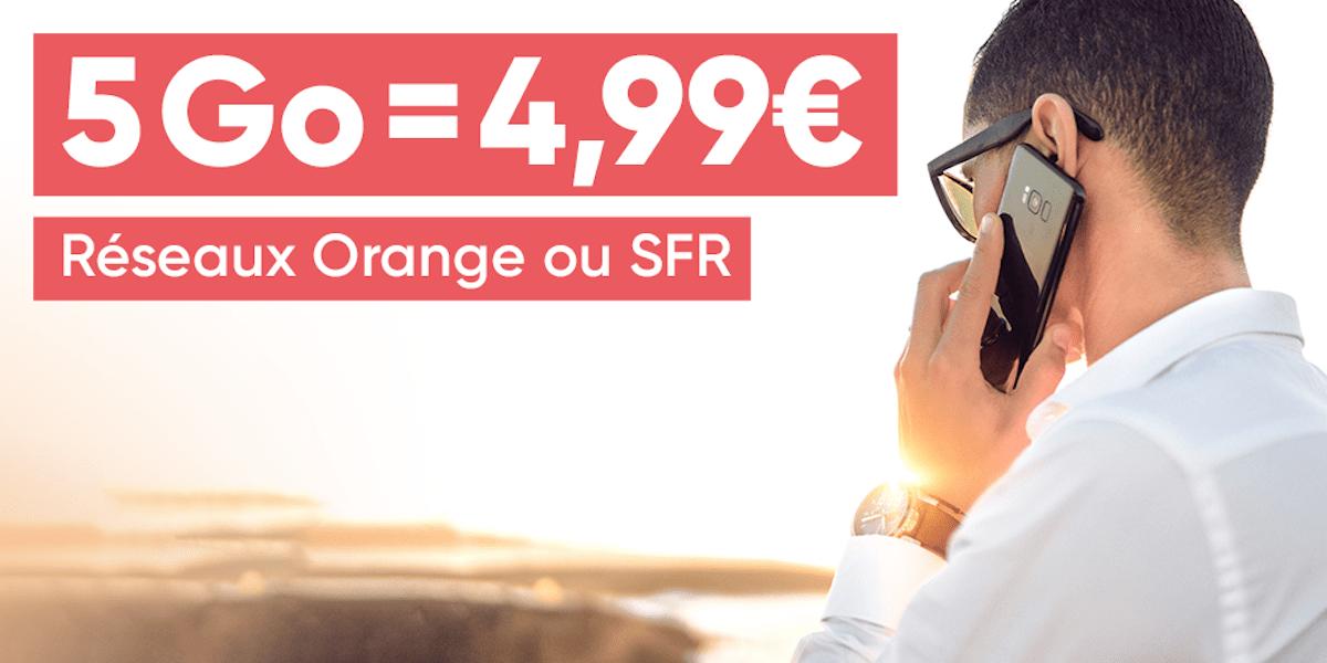 Ce forfait mobile illimité à 4,99 euros/mois est disponible avec les réseaux Orange ou SFR