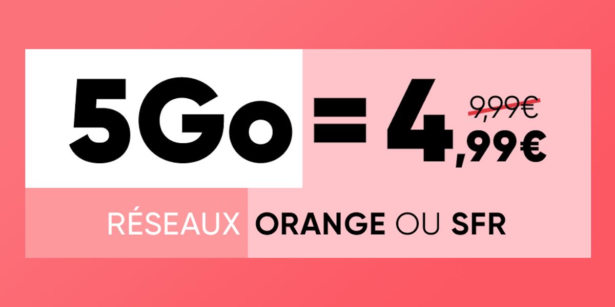 Forfait mobile 5 Go à 4,99 euros : choisissez votre réseau entre Orange et SFR
