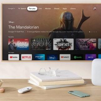 Google TV : l'interface se montre en avant-première avec un Pixel 5 vert et le Nest Audio