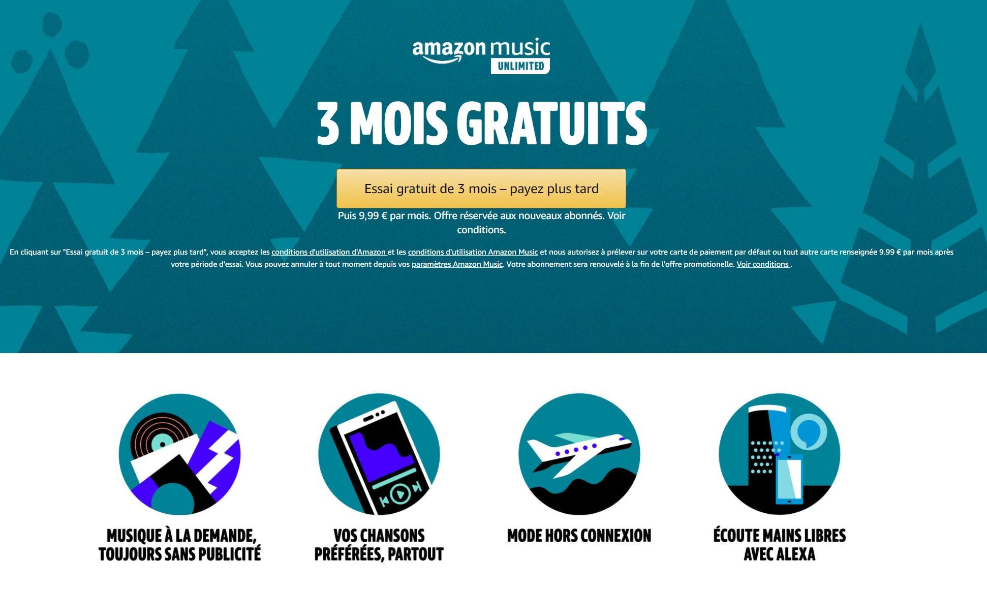 Amazon Music Unlimited est de nouveau gratuit les 3 premiers mois