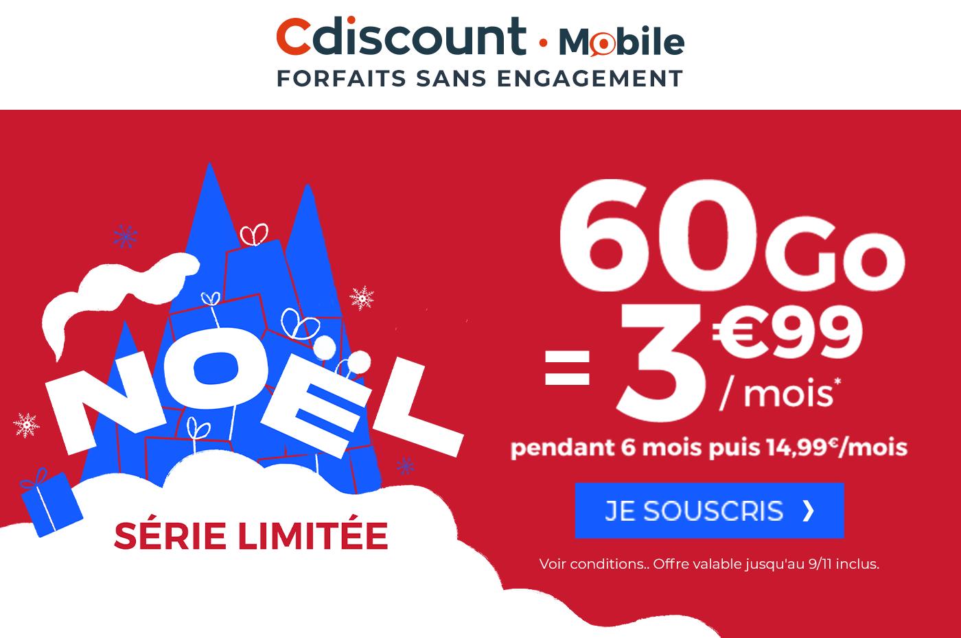 Forfait mobile : Cdiscount Mobile frappe un grand coup avec 60 Go à 3,99 euros