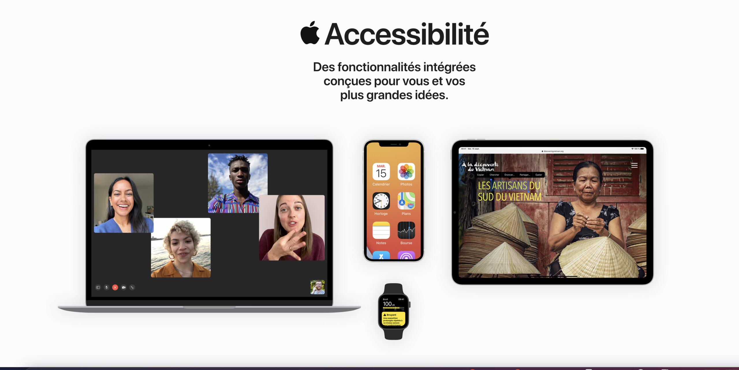 Accessibilité: le nouveau site d'Apple met en avant toutes les fonctionnalités de ses produits