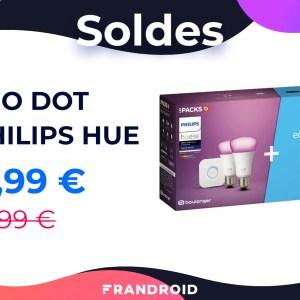 Ce pack Echo Dot + 2 ampoules Philips Hue n'est qu'à 85 € pour les soldes
