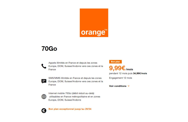 Orange : le forfait mobile 70 Go à moins de 10 €/mois est toujours disponible