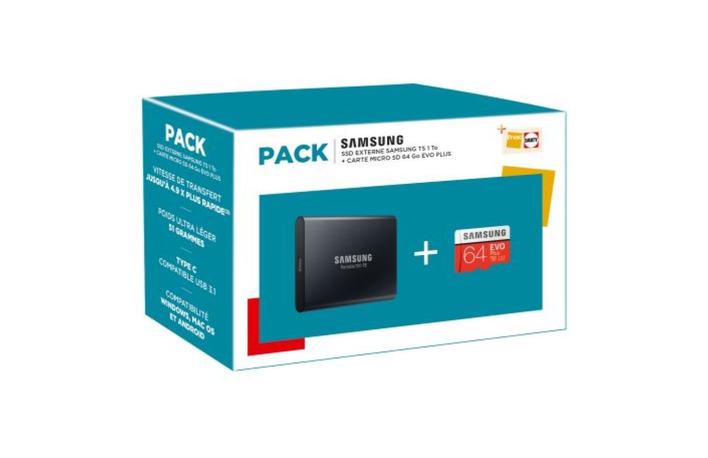 Seulement 119 € pour le pack SSD externe Samsung T5 1 To + microSD 64 Go
