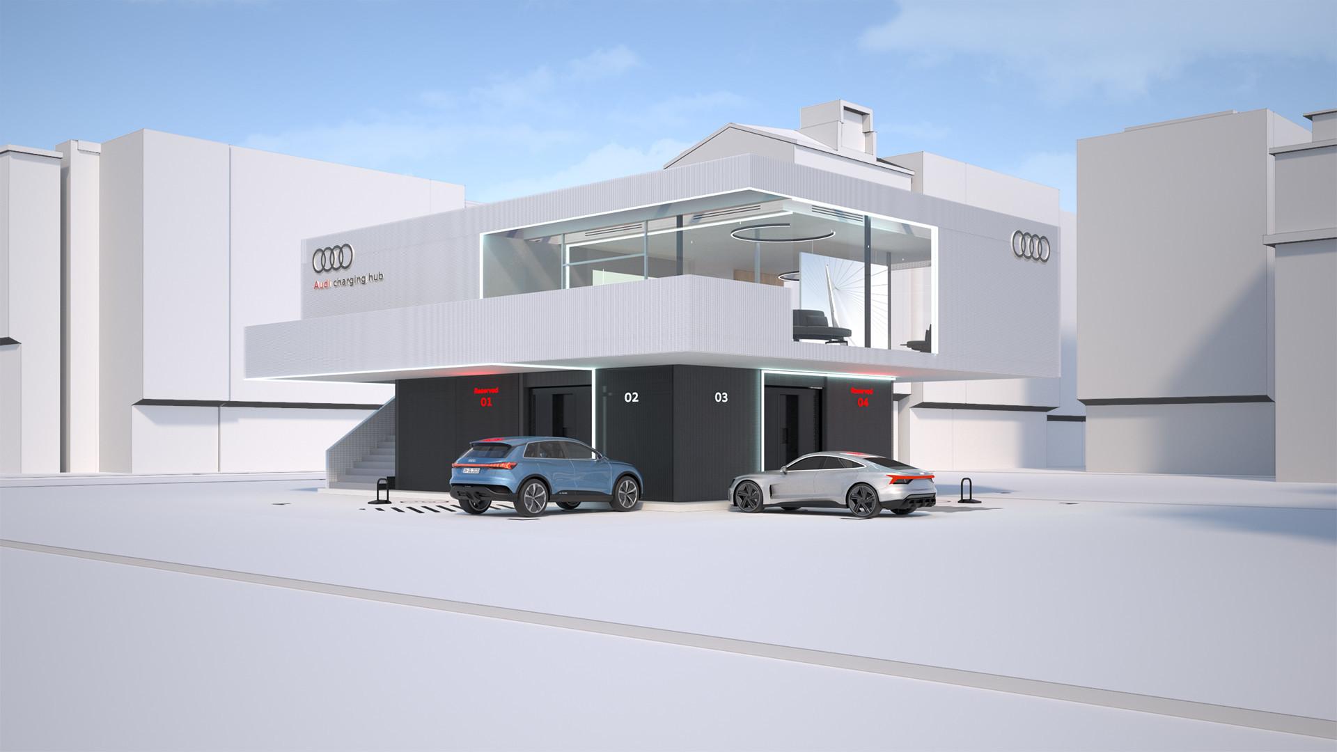Audi dévoile un concept de bornes de recharge rapide avec réservations