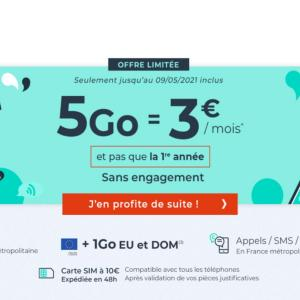 Pas cher, ce forfait mobile 5 Go coûte 3 €/mois même après un an